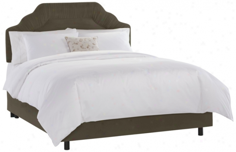 Shirred Headboard Pewter Velvet Bed (twin) (n7613)