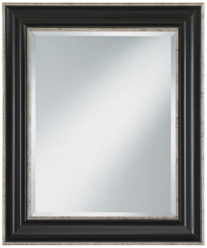 "Silver And Black Panel Wood Frame 36"" High Wall Mirror (u7510)"