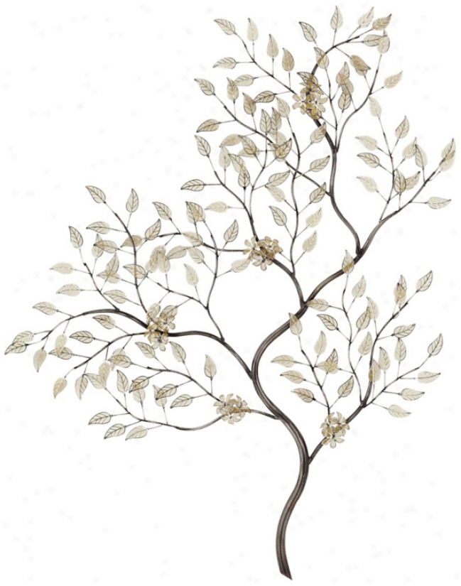"Gentle And Gold Leaves Branch 34"" Hihh Wall Art (u2164)"