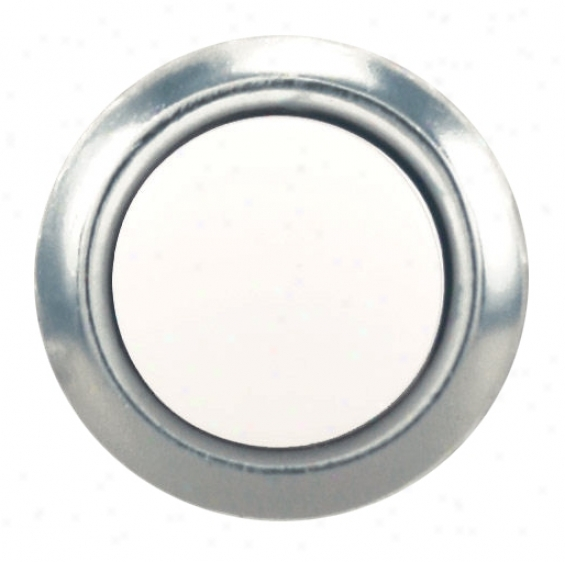 Silver And Pearl Polish Round Doorbell Button Insert (k6331)