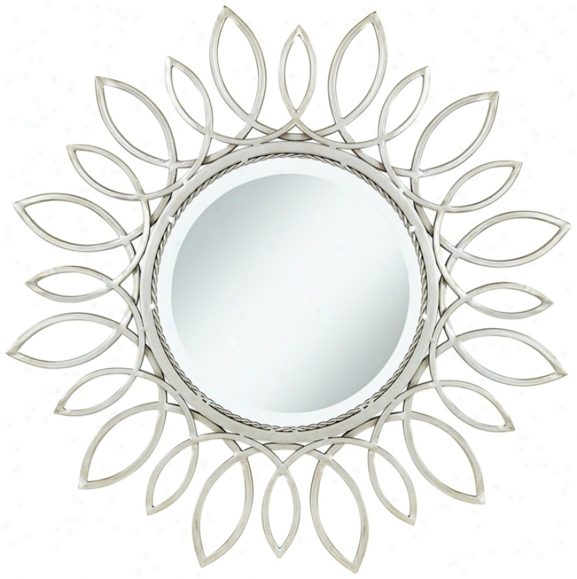 "Silver Daisy 30"" Wide Wall Mirror (u5077)"