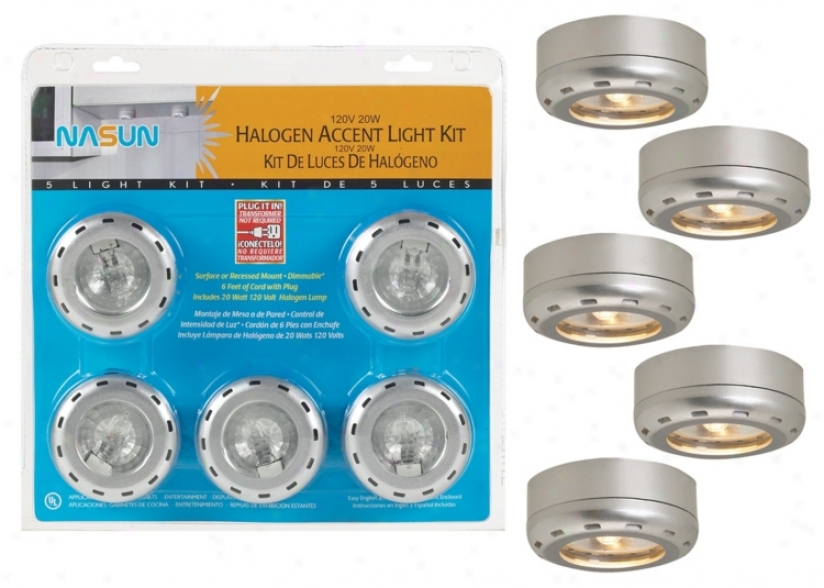 Silver End 5-pack 20 Watt Halogen Puck Light Kit (86407)