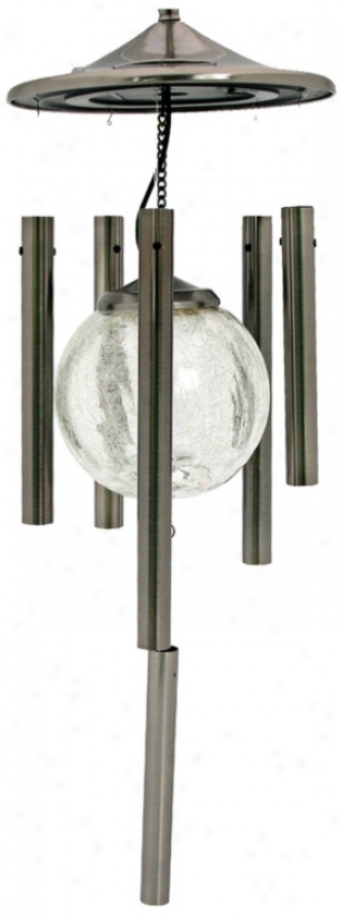 Silver Finish Color Changing Solar Wind Chime (t2728)