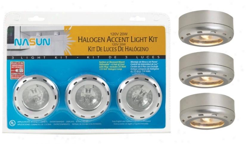 Silver Finish Halogen 20 Watt 3-pack Puck Light Kit (86291)
