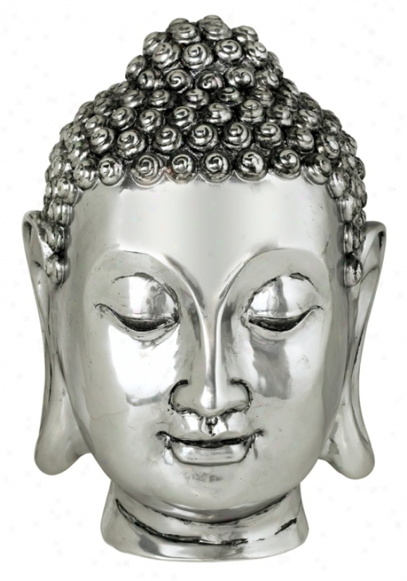 Silvrr Finish Large Buddha Head Sculpture (19275)