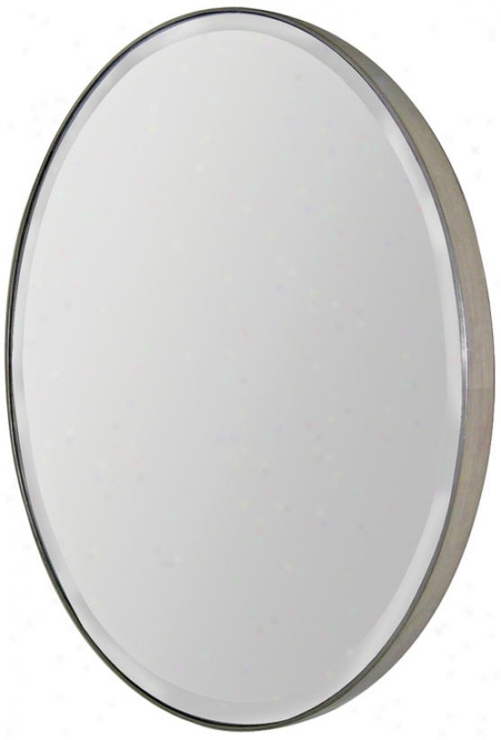 "Silver Finish Oval Frame 29"" High Wall Mirror (m5044)"