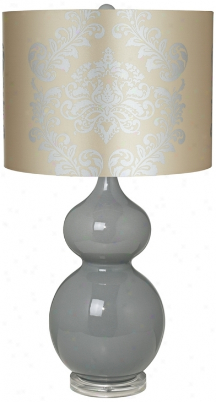 Silver Graphkc Shade Double Gourd Slate Grey Ceramic Table Lamp (t902-u1435)