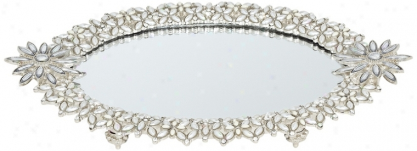 Sil\/er Jeweled Mirror Tray With Feet (v2192)