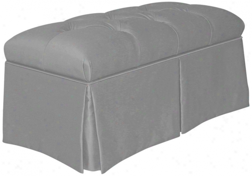 Silver Skirted Shantung Faxu Silk Upholstered Storage Bench (w3972)