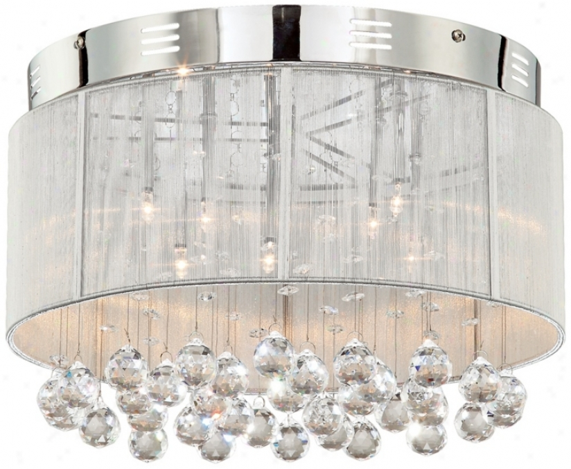 Silver Thread Drum Shade With Crystal Ceiling Light (14868)