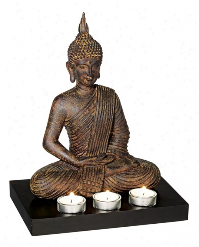 Sitting Buddha 3-candle Tealight Holder (69940)