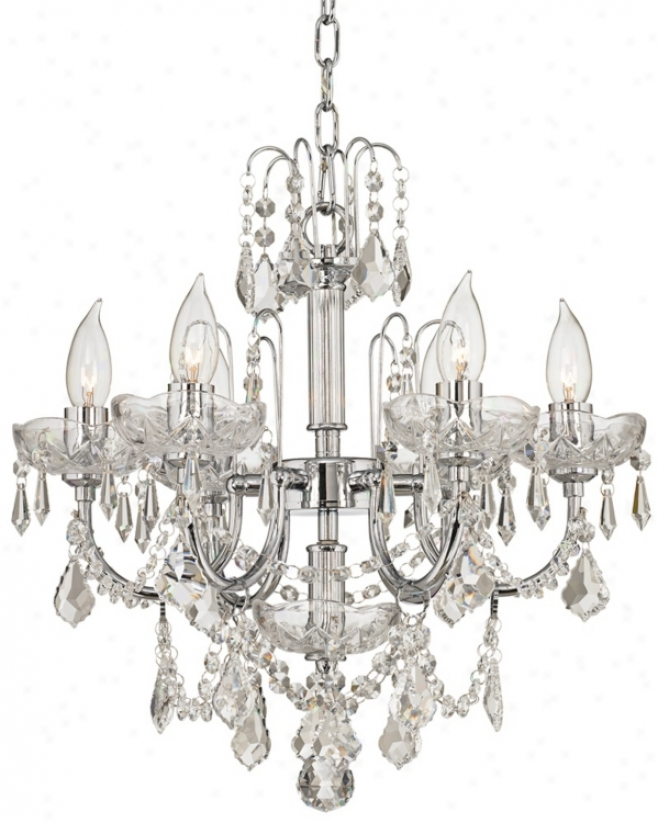 "Six Lighy Clear Crystal 17"" Wide Chandelier (p4439)"