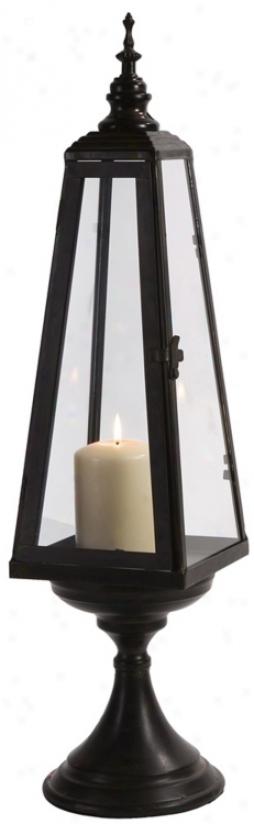 Small Black Metal Steeple Candle Lantern (t9877)