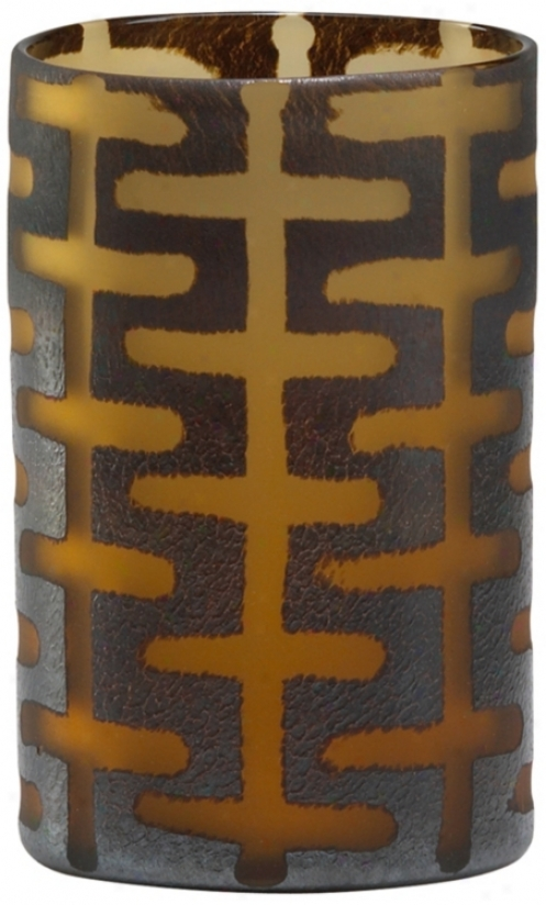 Small Brown Glass Graphic Vase (r0686)
