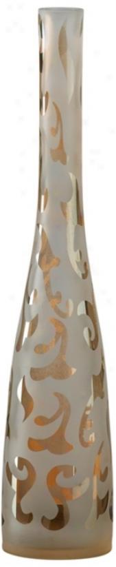 Small Whiten And Amber Brocade Glass Vase (v1449)