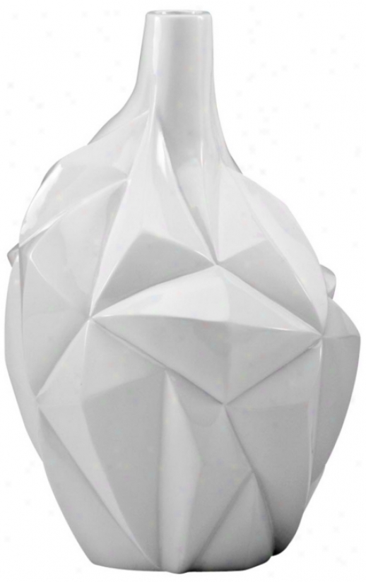 Small Glacier Glass White Vase (u7002)