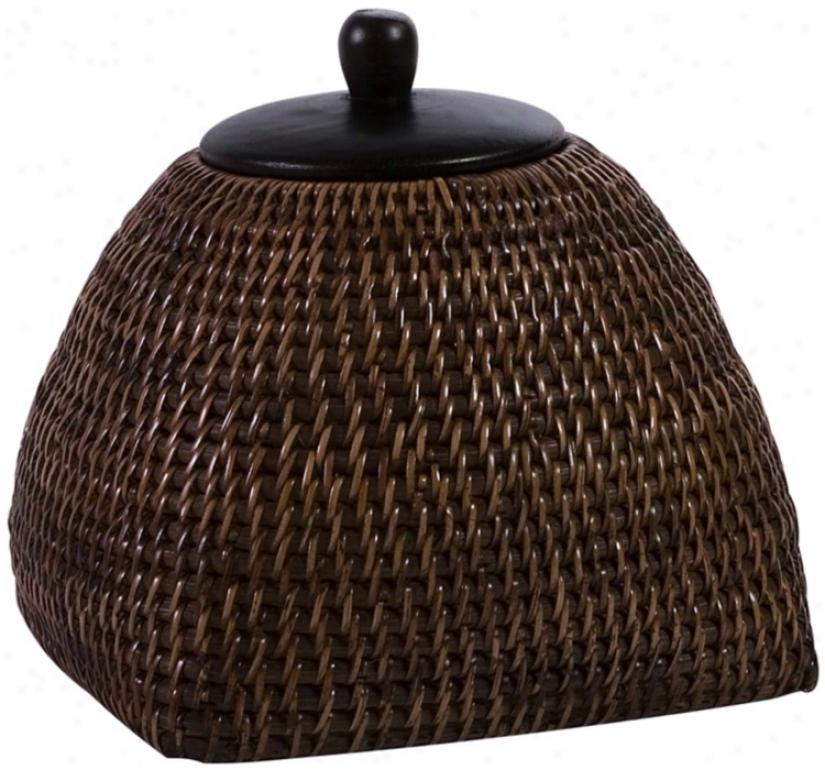 Small Jakarta Woven Wood Lidded Box (t9803)