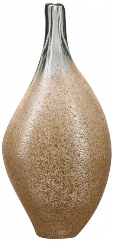 Small Mocha Dkpped Clear Glass Vase (r0355)