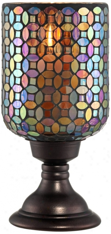 Small Mosaic Glass Candle Holder (r9812)