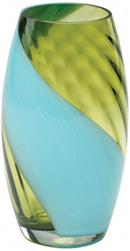 Small Rita Green And Blue Glass Vase (n3829)