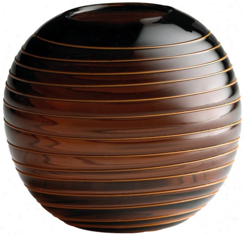 Small Round Raw Umber Glass Vesper Vase (r0797)