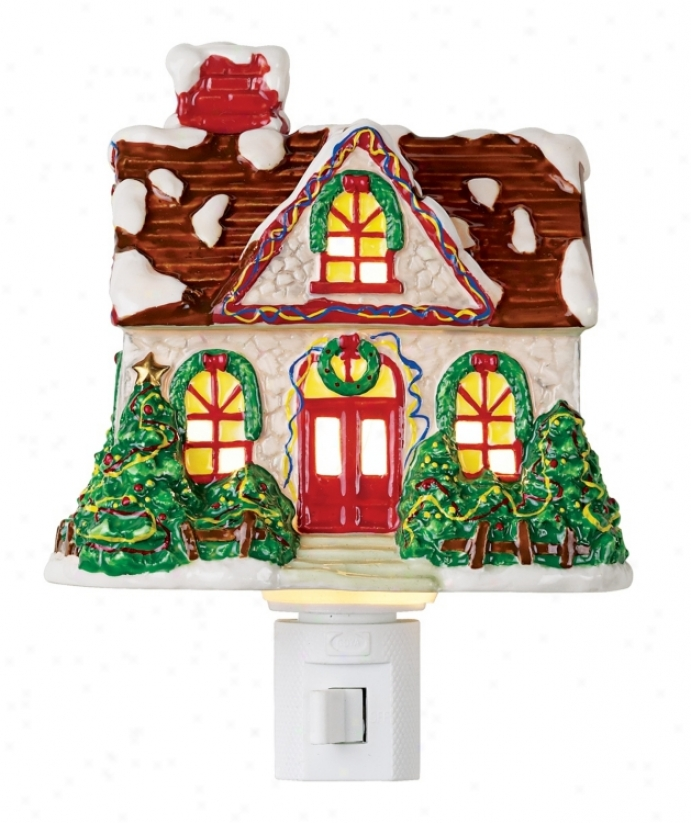 Snow Covered Cottage Night Light (22507)