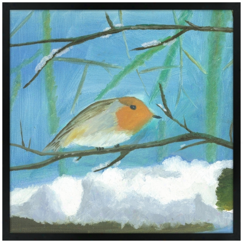 "Snow Sparrow 31"" Square Black Giclee Wall Art (k4130-n9454)"