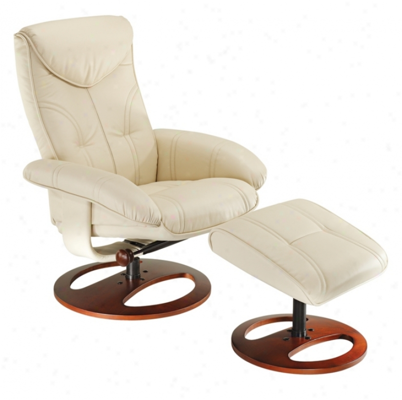 Soft Touch Vanilla Swivel Recliner And Slanted Ottoman (k7868)