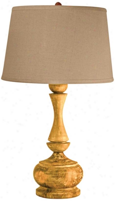 Solid Acacia Wood Urn Table Lamp (n2173)