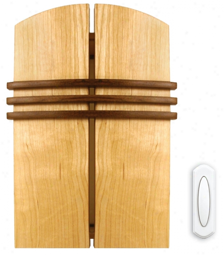 Solid Rod With Walnut Finish Accents Wireless House Chime (k6377)