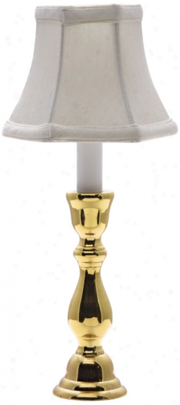 Solid Brass White Shade Window Light Table Lamp (j8939)
