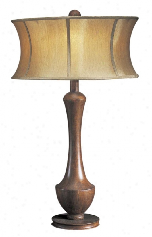 Hard Walnut Antique Coin Drum Table Lamp (h1140)