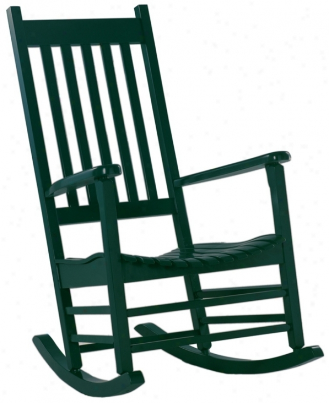 Solid Wood Hunter Green Porch Rocker Chair (t4764)