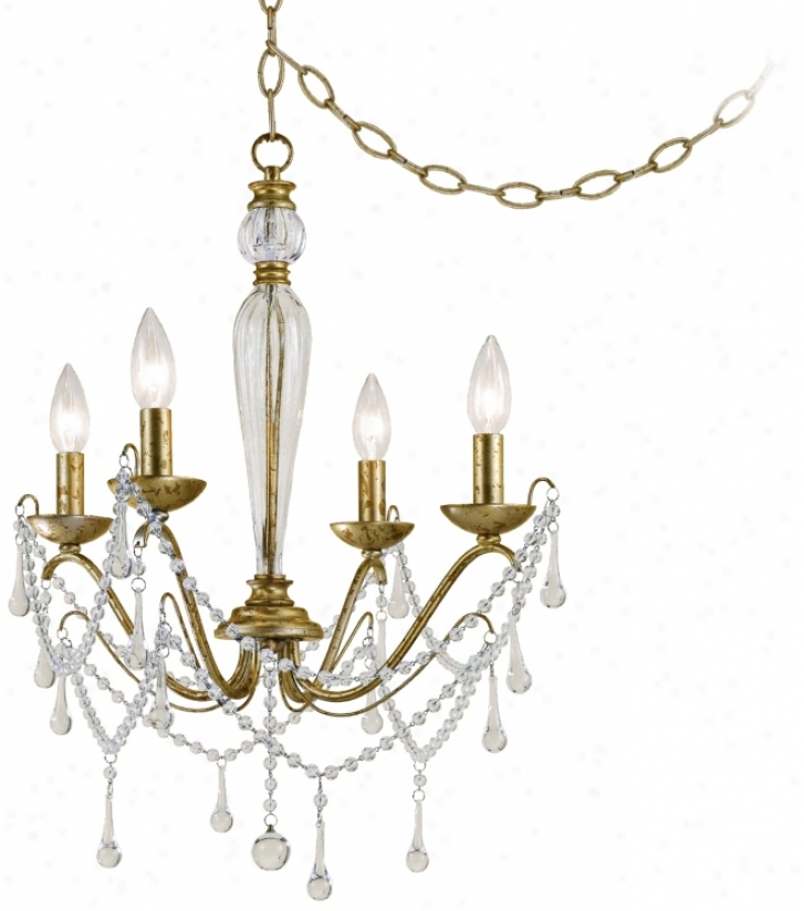 "Sophia Tortoise Shell Gold 19"" Wide Plug-in Swab Chandelier (r3519)"