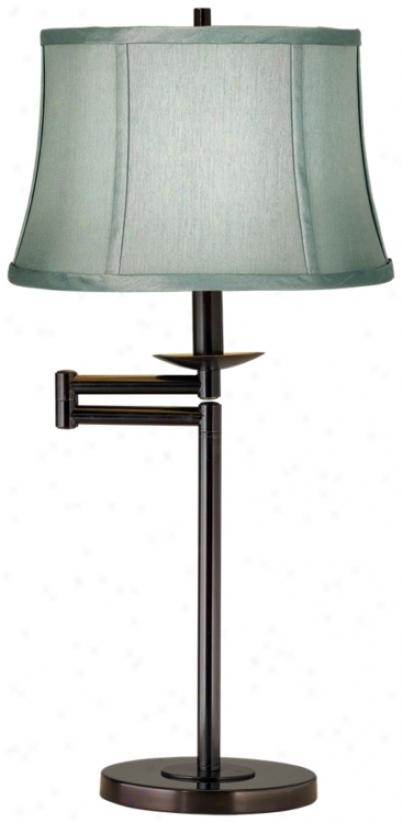 Spa Blue Bronze Finish Swing Arm Desk Lamp (41165-51755)