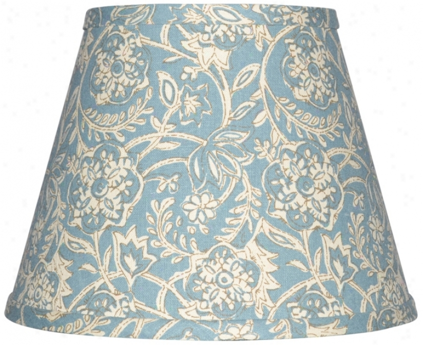 Spa Blue With Crem Floral Lamp Shade 10x18x13 (spider) (w0171)