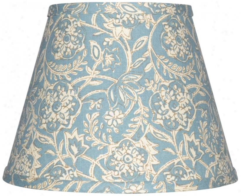 Spa Blue With Cream Floral Lamp Shade 6x12x8 (spider)( w0168)