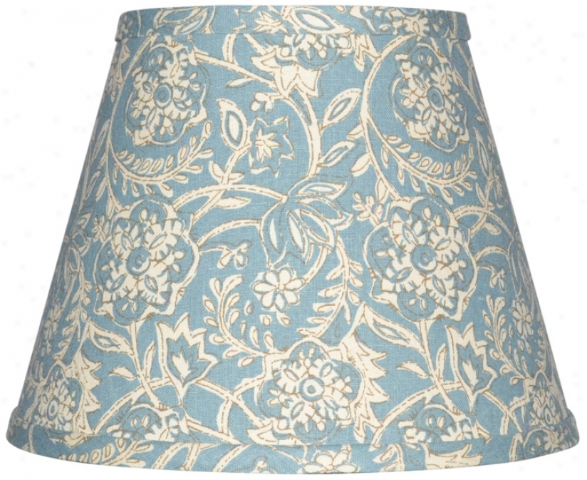 Spa Blue With Cream Floral Lamp Shade 8x14x10.25 (spider) (w0169)