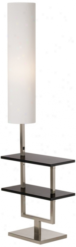 Space Saver Ebony And Brushed Nickel Two Shelf Floor Lamp (t4645)