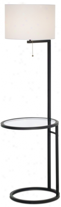 Space Saver Glass Tray Table Floor Lamp (m4067)