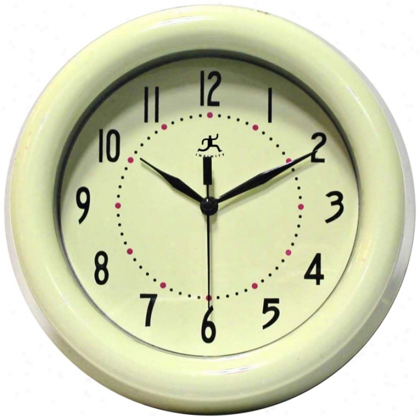 "Spartan Ivory 8"" Wide Round Wall Clock (r6853)"
