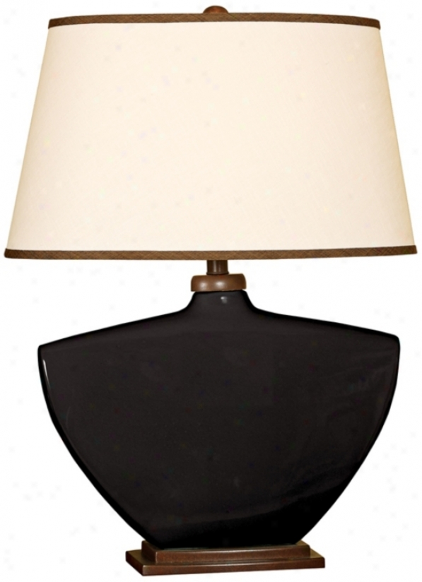 Splash Collection Black Curced Ceramic Flat Lamp (p3857)