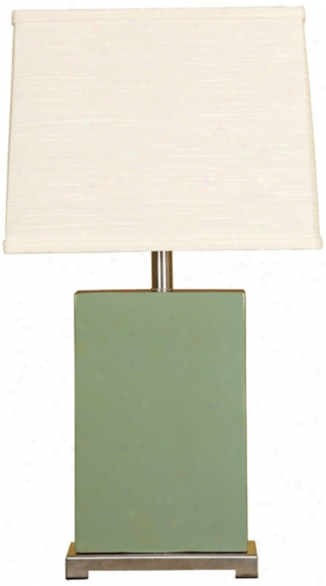 Splash Collection Moss Ceramic Rectangular Slab Lamp (p320)