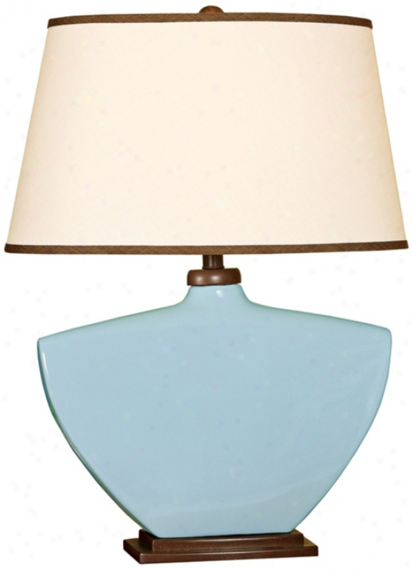 Splash Collection Sky Blue Curved Ceramic Table Lamp (p3887)