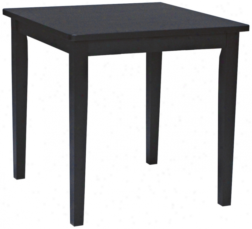 Square Black Solid Wood Dining Table (u4186)