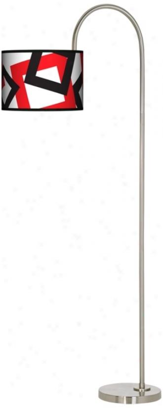 Square Jumble White Arc Tempo Giclee Floor Lamp (m3882-n0332)