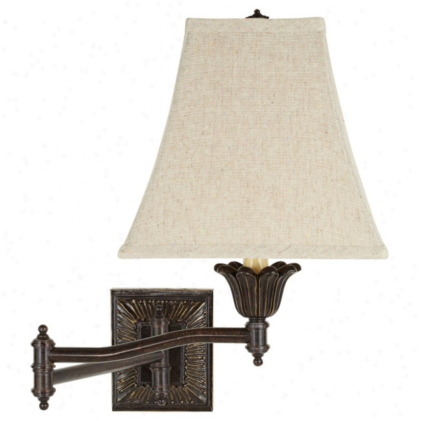 Square Linen Shade Bronze Plug-in  Swing Arm Wall Lamp (u3743-43099)