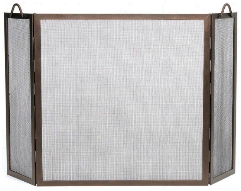 Square Roman Bronze Folding Fireplace Screen (0254)