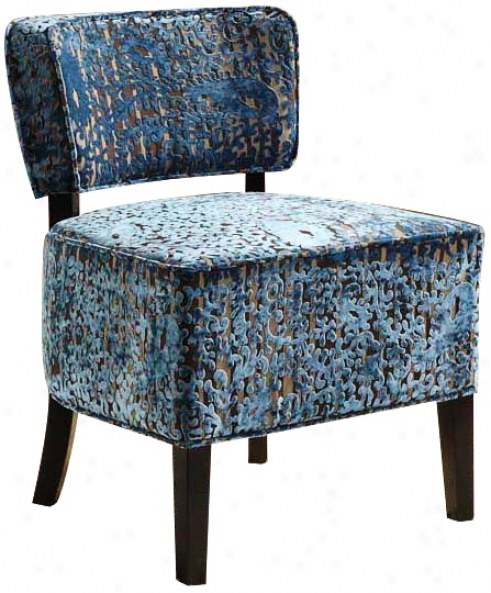 St. Croix Blue Velvet Armless Club Chair (t3869)