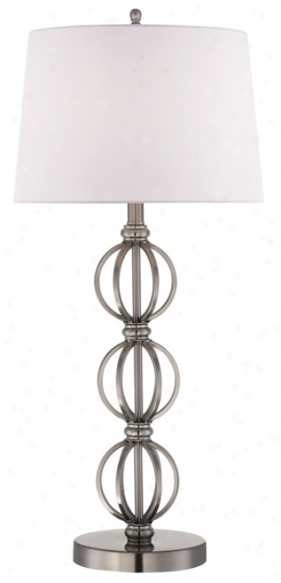 Stacked Steel Open Spheres Table Lamp (r5503)